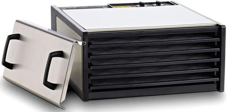 D500S Stainless Steel Series Dehydrator with 5 Trays  8 Sq. Ft. of Drying Area  Adjustable Thermostat  26 Hour Timer  and 5 Year Limited Warranty with Trays