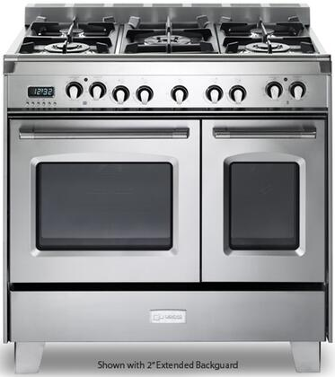 "VCLFSGE365DSS 36"" Classic Dual Fuel Range with 2.4 cu. ft. & 1.5 cu. ft. Ovens  European Convection  5 Sealed Gas Burners  Cast-Iron Grates  EZ Clean Oven"