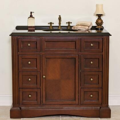 A0701 Stanwyck 42 inch  Bathroom Vanity With Galaxy Black Granite Top  Sun Cherry Cabinet  1 Door with 1 Shelf & 8 Drawers with Metal Roller Ball