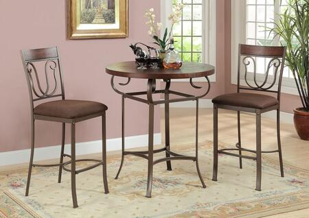 Tavio 96348T2C 3 PC Bar Table set with Counter Height Table + 2 Chairs in Dark Cherry