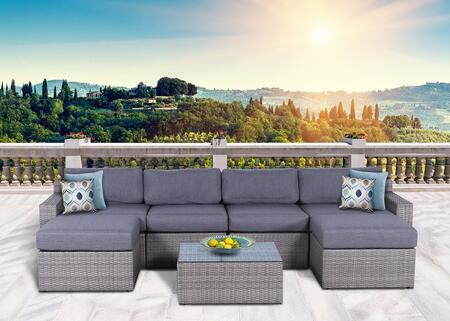 Vadella Collection VDLA-1001G 7 Piece Olefin Conversation Set with Left Arm Sofa  Right Arm Sofa  2x Armless Sofas  2x Ottomans and Coffee Table in