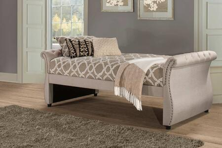 Hunter Collection 2005DB Twin Size Daybed with Linen Fabric Upholstery  Backless Sleigh Style Design and Sturdy Hardwood Frame Construction in Linen
