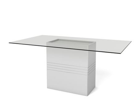 "Perry 1.6 Collection 105352 71"" Rectangular Table with Sleek Tempered Glass Table Top and Carved Design Base inWhite"