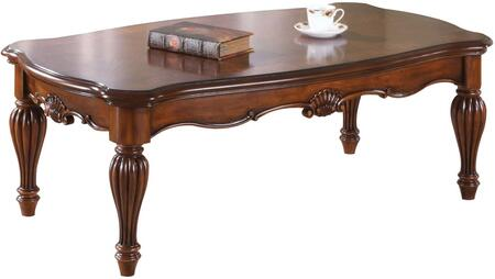 Dreena Collection 10290 52 inch  Coffee Table with Turned Legs  Carved Apron  Rectangular Shape and Cherry Veneer Materials in Cherry