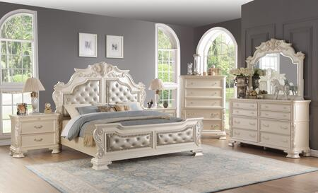 Victoria Collection VICTORIA QUEEN BED SET 6-Piece Bedroom Set with Queen Size Bed  Dresser  Mirror  Chest and 2 Nightstands in