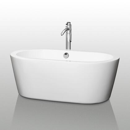 WCOBT100360 60 in. Center Drain Soaking Tub in White with Chrome