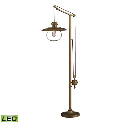 D2254-LED Farmhouse 1-Light LED Floor Lamp in Antique Brass with Matching Metal