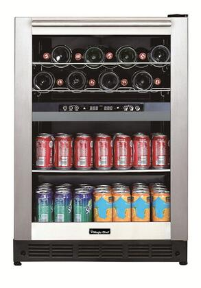 Magic Chef BTWB530ST1 24 Dual-Zone Wine and Beverage Center with Blue LED Lighting Adjustable Digital Thermostat