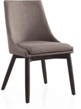 Creek Collection CB-F3185-GWEN Dining Chair with High Backrest  Modern Style  Wenge Finished Tapered Legs  Commercial Grade and Linen Upholstery in Dark Grey