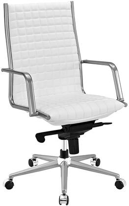 Pattern Collection EEI-2122-WHI Office Chair with 360-Degree Swivel  Adjustable Height  Tilt Control  Five Dual-Wheel Nylon Casters  Polished Steel Armrests