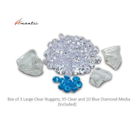 FI108DIAMOND Box 3 Large Clear Nuggets  95 Clear and 10 Blue Diamond