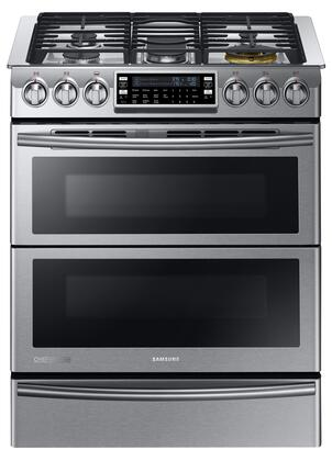 "NY58J9850WS 30"" Slide-in  Dual-Fuel Range with 5 Gas Burners  2.4 cu. ft. Upper Oven and 3.3 cu. ft. Lower Oven Capacity  True Convection System and Warming"