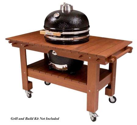 SGTM23-MT XL Wood Top Table with Pre-mounted Casters and Towel/Handle Bars for 23 inch  Saffire Grills: Asian