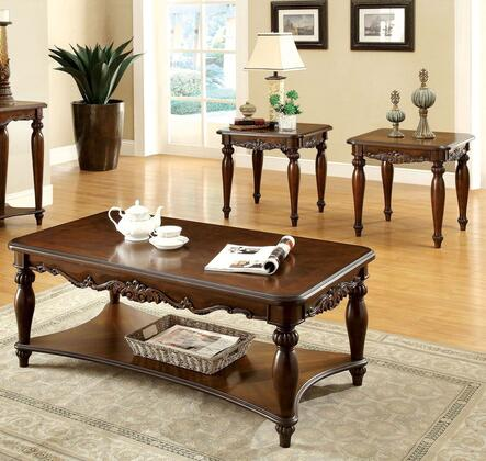 Bunbury Collection CM4915-3PK 3-Piece Living Room Table Set with Coffee Table and 2 End Tables in