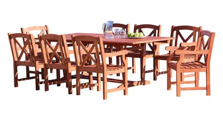 V232SET35 Malibu Outdoor 9-Piece Wood Patio Dining Set With Extension