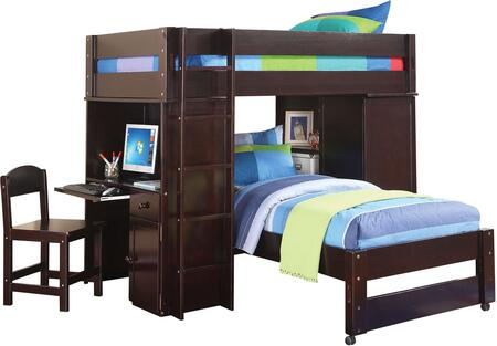 Lars Collection 37495 Twin Size Loft Bed with Computer Desk  Closet  Slat System Included  Front Ladder  Wooden Chair and Pine Wood Construction in Wenge