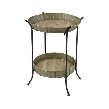Rockefeller Collection 609800 Wood and Metal Tray Table with 1 Bottom Tray in