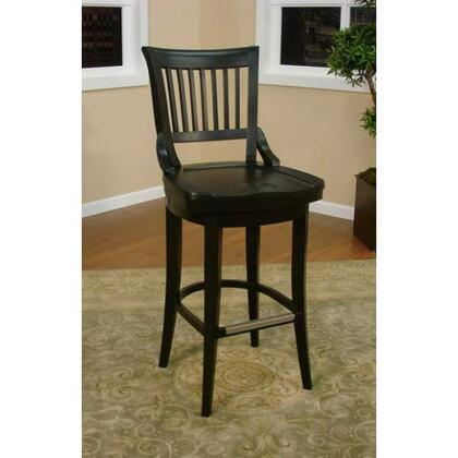 Liberty Series 130755BLK 30 Traditional Bar Stool with Full Bearing Swivel  Fully integrated Back Support  and Adjustable Leg Levelers in