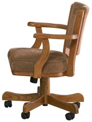 "Mitchell 100952 47.5"""" Arm Game Chair with Casters  Wooden Arms  Subtle Curves and Fabric Upholstery in Amber"" 212808"