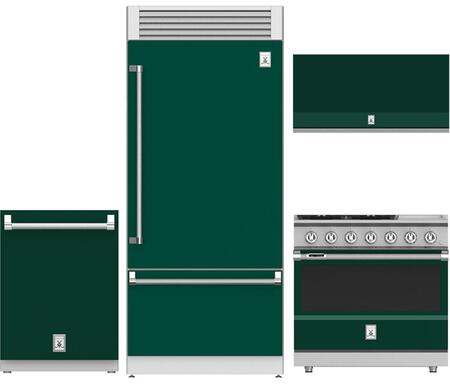 4-Piece Green Kitchen Package with 36