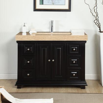 V0284TR48C 48 inch  Single Sink Cabinet with 7 Drawers  2 Doors  Travertine Top and Ramp Sink