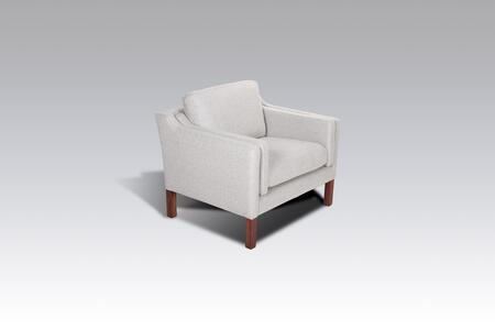 Tved FB3607LGREY1 Lounge Chair with Piped Stitching  Solid Wood Frame and Fabric Upholstery in Light