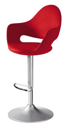SOFT.G.AS.Z15.PRO Soft Swivel Stool with Satinated Aluminum Lacquered Steel Frame  Adjustable Height and Red Integral Polyurethane