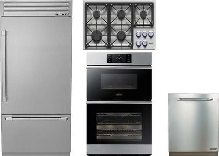 4-Piece Stainless Steel Kitchen Package with DYF36BFTSR 36 inch  Bottom Freezer Refrigerator  DYCT365GSNGH 36 inch   Gas Cooktop  DOB30M977DS 30 inch  Electric Double Wall