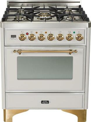 "UM-76-DMP-I 30"""" Majestic Series Freestanding Dual Fuel Range with 5 Sealed Burners  3.0 cu. ft. Primary Oven Capacity  Convection Oven  Warming Drawer  Brass"" 175415"