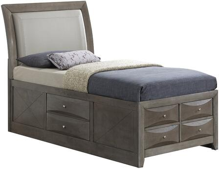 G1505ITSB4 Twin Size Bed with Dovetailed Drawers  Beveled Edge  Wood Veneers and Simple Pulls in