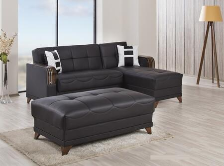 ALMSECOTTZBNL Almira Sectional Sleeper Sofa and Ottoman with Matching Pillows  Tufted Detailing  Tapered Legs and Upholstered in Zen Brown