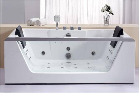AM196 Rectangular Whirlpool Bath Tub with Acrylic 2 Person Capacity  Tempered Glass Panel  Back Flow Preventer  Control Panel  Digital Stereo Sound  Water 312429