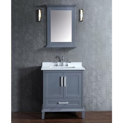 SCNAN30SWG Seacliff by ARIEL Nantucket 30 inch  Single Sink Vanity Set with Quartz Top  Tapered Legs  and Molding Detail in Whale