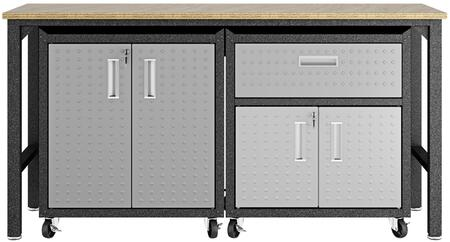 Fortress 15GMC 3-Piece Garage Cabinet and Worktable with 4 Doors  1 Drawer and 4 Doors in