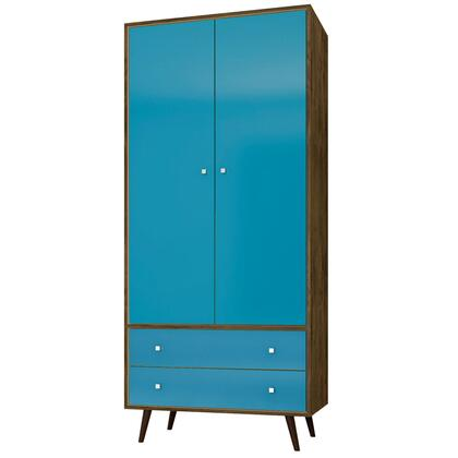 "207BMC93 Liberty 31.89"" Mid Century- Modern Armoire with 2 Drawers  1 Shelf  and Hanging Rod in Rustic Brown and Aqua"