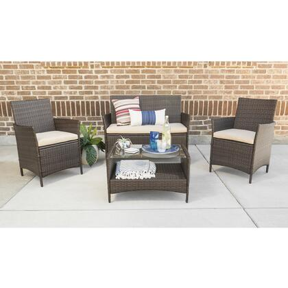 OR4CSNABR 4-Piece Simple Rattan Patio Chat Set in
