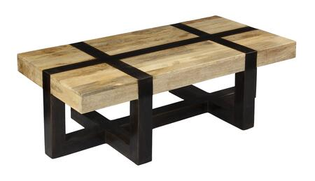 75312 54 inch  Cocktail Table with Tahoe Natural Mango Top  Dark Mango Base and