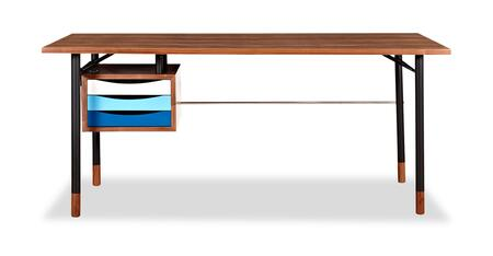 DESK-THEORY-WAL-BLU Color Theory Mid-Century Modern 3-Drawer Writing Desk 67