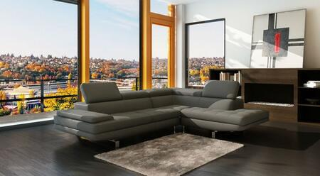 LN-308-DG 109 inch  2-Piece Sectional Sofa with High Quality Eco-leather Seating  Extra Thick Cushioning  and Tufting Details in Dark