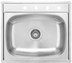 S2225/75K/4 25 inch  Top Mount Single Bowl Stainless Steel Sink with 7-1/2 inch  Bowl Depth  Silk Finish and 18-Gauge  4 Faucet