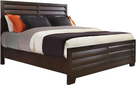 Sable Collection 330-BR-K11 Queen Size Bed with Clean Line Design  Decorative Louvered Panels and Wood Construction in