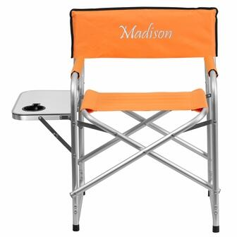 TY1104-OR-EMB-GG Embroidered Aluminum Folding Camping Chair with Table and Drink Holder in