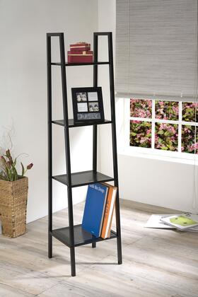 Eason Collection 92157 14 Shelf Rack with 4 Tiers  Industrial Style and Metal Ladder Frame in Black