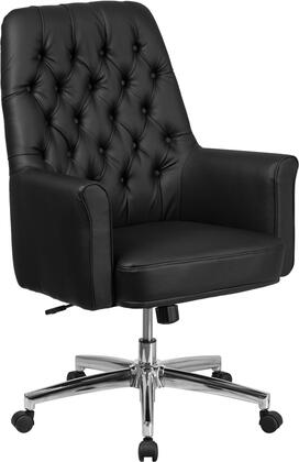 BT-444-MID-BK-GG Mid-Back Traditional Tufted Black Leather Executive Swivel Chair with