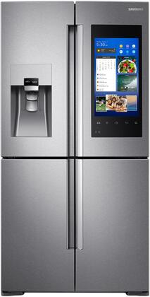 """RF22M9581SR 36"""" French 4 Door Refrigerator with 22 cu. ft. Capacity  Family Hub  Food Management Camera  EZ Slide-Out Shelves  External Water and Ice Dispenser"""