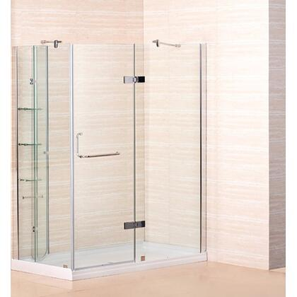 SD972-8-R 60 inch  x 32 inch  Frameless Shower Enclosure with Shower Base including Shelving Feature in Chrome Finish - Right Hand