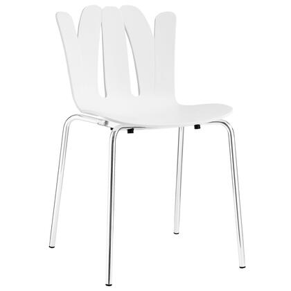 Flare Collection EEI-1496-WHI Dining Side Chair with Stainless Steel Base  Modern Style  Non-Marking Feet  Molded Plastic Seat and Back in White