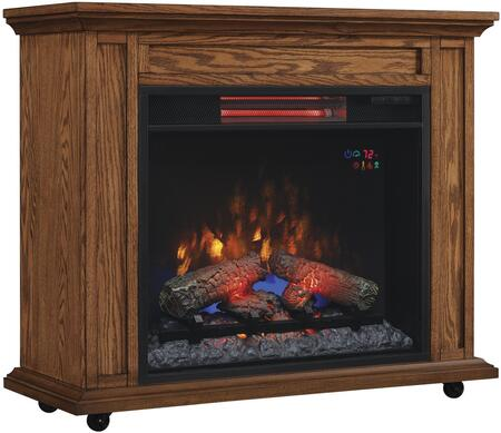 23IRM1500-O107 33 inch  Infrared Rolling Mantel with Electric Quartz Fireplace  5 200 BTU  Locking Casters  LED Spectafire Technology and Tempered Glass Front in