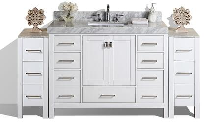 PVN-MALIBU-12-60S-12-WH-UND 84 inch  Malibu White Single Modern Bathroom Vanity With 2 Side Cabinets And White Marble Top With Undermount