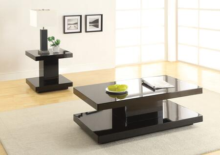 Koren 80726CET 2 PC Living Room Table Set with Coffee Table + End Tbale in Black